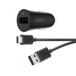 Belkin BOOST↑UP™ Quick Charge 3.0 Car Charger with USB-A to USB-C™ Cable - F7U032bt04-BLK