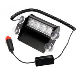 Φώτα Αστυνομίας STROBO για Παρμπρίζ Αυτοκινήτου με Βεντούζες Στήριξης 4 LED 10-30V Μπλε & Κόκκινο GloboStar 70150