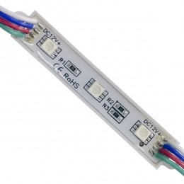 LED Module 3 SMD 5050 0.8W 12V 50lm IP65 Αδιάβροχο RGB GloboStar 65005