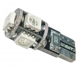 Λαμπτήρας LED T10 Can Bus με 5 SMD 5050 Μπλε GloboStar 25000