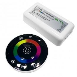 Ασύρματος LED RGB Controller με Μαύρο Στρογγυλό Χειριστήριο Αφής 2.4G 12v (192w) - 24v (384w) DC GloboStar 77445