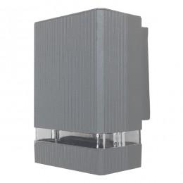 Φωτιστικό Τοίχου Quatro Ασημί Αλουμινίου IP65 Down Gu10 GloboStar 90065