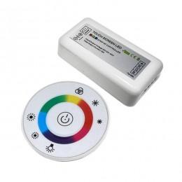 Ασύρματος LED RGB Controller με Λευκό Στρογγυλό Χειριστήριο Αφής 2.4G 12v (192w) - 24v (384w) DC GloboStar 77545