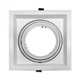 Χωνευτή Τετράγωνη Μονή Βάση για Spot AR111 Λευκή Κινούμενη σε 2 άξονες GloboStar 90077