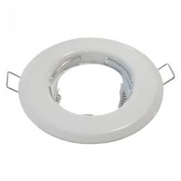 Χωνευτή Στρογγυλή Βάση για Spot Φ83 Λευκή Σταθερή GloboStar 90038