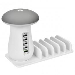 Επιτραπέζιος Φορτιστής Πολύμπριζο USB με 5 θύρες και LED Φωτιστικό Γραφείου GloboStar 70000