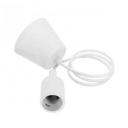 Λευκό Κρεμαστό Φωτιστικό Οροφής Σιλικόνης με Υφασμάτινο Καλώδιο 1 Μέτρο E27 GloboStar White 91001