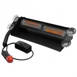 Φώτα Οδικής Βοήθειας STROBO για Παρμπρίζ Αυτοκινήτου με Βεντούζες Στήριξης LED 2 x COB LIGHT 8W 10-30V Πορτοκαλί GloboStar 34316