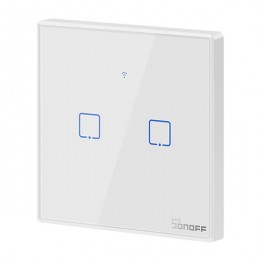 SONOFF T1 2 GANG Touch Wifi Wall Switch Smart Home Wireless LED Light Controller - Ασύρματος Έξυπνος Διπλός Χωνευτός Διακόπτης ON / OFF Επίτοιχος Αφής WiFi GloboStar 48464