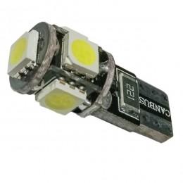 Λαμπτήρας LED T10 Can Bus με 5 SMD 5050 Ψυχρό Λευκό GloboStar 81089