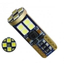 Λαμπτήρας LED T10 12v Can Bus με 12 SMD 3030 Ψυχρό Λευκό 6000k GloboStar 81102