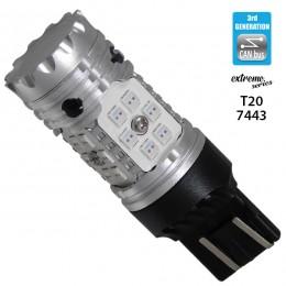 Λαμπτήρας LED Extreme Series Can-Bus 3ης Γενιάς με βάση T20 7443 15W 12v Κόκκινος για Πορείας Στοπ GloboStar 81152
