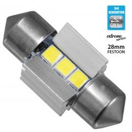 Σωληνωτός LED Extreme Series Can-Bus 3ης Γενιάς 28mm 2.8w 12V Ψυχρό Λευκό 6000k GloboStar 81336