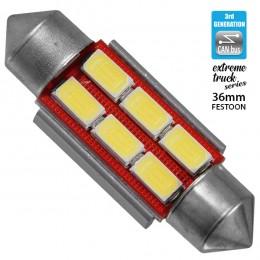 Σωληνωτός LED Extreme Truck Series Can-Bus 3ης Γενιάς 36mm 4.5w 24V Ψυχρό Λευκό 6000k GloboStar 81342