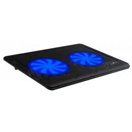 """POWERTECH Βάση & ψύξη laptop PT-738 έως 15.6"""", 2x 125mm fan, LED, μαύρο"""