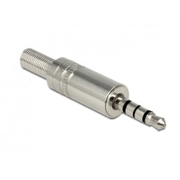 DELOCK Βύσμα 3.5mm Stereo, 4 pin, Bend Protection, Metal, Silver