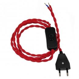 Κρεμαστό Φωτιστικό Whip με Μαύρο Διακόπτη - Μαύρη Πρίζα και Κόκκινο Καλώδιο 1.4m GloboStar 91034