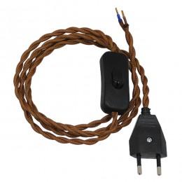 Κρεμαστό Φωτιστικό Whip με Μαύρο Διακόπτη - Μαύρη Πρίζα και Καφέ Πλεκτό Καλώδιο 1.4m GloboStar 91036