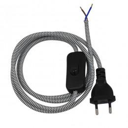 Κρεμαστό Φωτιστικό Whip με Μαύρο Διακόπτη - Μαύρη Πρίζα και Γκρι Καλώδιο 1.4m GloboStar 91039