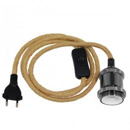 Κρεμαστό Φωτιστικό Whip με Σκούρο Νίκελ Ντουί E27 - Μαύρο Διακόπτη - Μαύρη Πρίζα και Μπέζ Καλώδιο 1.4m GloboStar 91042
