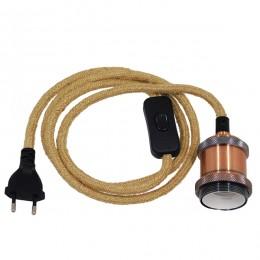 Κρεμαστό Φωτιστικό Whip με Χάλκινο Ντουί E27 - Μαύρο Διακόπτη - Μαύρη Πρίζα και Μπέζ Καλώδιο 1.4m GloboStar 91043