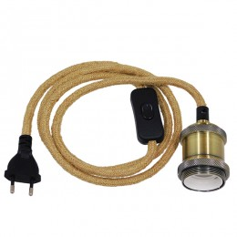 Κρεμαστό Φωτιστικό Whip με Χρυσό Ντουί E27 - Μαύρο Διακόπτη - Μαύρη Πρίζα και Μπέζ Καλώδιο 1.4m GloboStar 91044