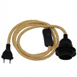 Κρεμαστό Φωτιστικό Whip με Μαύρο Ντουί E27 με Ροδέλα για Καπέλο - Μαύρο Διακόπτη - Μαύρη Πρίζα και Μπέζ Καλώδιο 1.4m GloboStar 91045