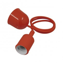 Κόκκινο Κρεμαστό Φωτιστικό Οροφής Σιλικόνης με Υφασμάτινο Καλώδιο 1 Μέτρο E27 GloboStar RED 91002