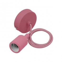 Ροζ Κρεμαστό Φωτιστικό Οροφής Σιλικόνης με Υφασμάτινο Καλώδιο 1 Μέτρο E27 GloboStar Pink 91004
