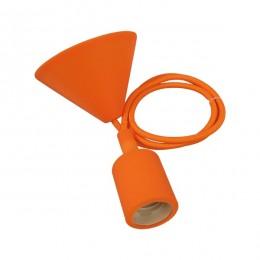 Πορτοκαλί Κρεμαστό Φωτιστικό Οροφής Σιλικόνης με Υφασμάτινο Καλώδιο 1 Μέτρο E27 GloboStar Orange 91005