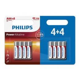 PHILIPS Power αλκαλικές μπαταρίες LR03P8BP/5, AAA LR03 1.5V, 8τμχ