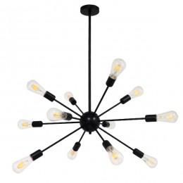 Μοντέρνο Industrial Φωτιστικό Οροφής Πολύφωτο Μαύρο Μεταλλικό Φ80xY78cm GloboStar MILANO BLACK 01486