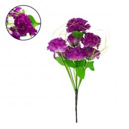 Τεχνητό Φυτό Διακοσμητικό Μπουκέτο Βιολετί M20cm x Υ35cm Π20cm με 7 X Γαρύφαλλα GloboStar 09075