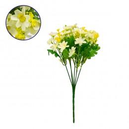 Τεχνητό Φυτό Διακοσμητικό Μπουκέτο Μαργαρίτες Λευκό - Κίτρινο M20cm x Υ30cm Π20cm με 7 Κλαδάκια GloboStar 09080