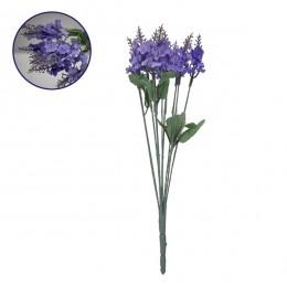 Τεχνητό Φυτό Διακοσμητικό Μπουκέτο Λεβάντα Μωβ M10cm x Υ30cm Π10cm με 10 Κλαδάκια GloboStar 09081