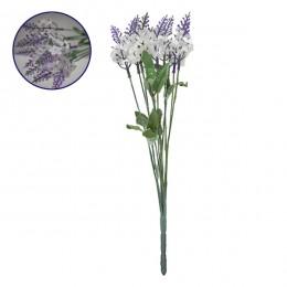 Τεχνητό Φυτό Διακοσμητικό Μπουκέτο Λεβάντα Λευκό - Μωβ M10cm x Υ30cm Π10cm με 10 Κλαδάκια GloboStar 09082