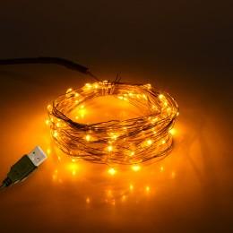 GloboStar® 79711 Διακοσμητική Γιρλάντα 5 Μέτρων 50 LED USB 5 Volt 3 Watt με Χάλκινο Συρμάτινο Καλώδιο Θερμό Λευκό 1600k