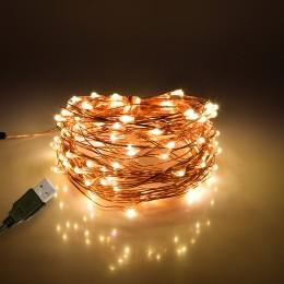 GloboStar® 79722 Διακοσμητική Γιρλάντα 10 Μέτρων 100 LED USB 5 Volt 6 Watt με Χάλκινο Συρμάτινο Καλώδιο Θερμό Λευκό 3000k