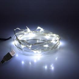 GloboStar® 79730 Διακοσμητική Γιρλάντα 2 Μέτρων 20 LED USB 5 Volt 1.2 Watt με Ασημένιο Συρμάτινο Καλώδιο Ψυχρό Λευκό 6000k