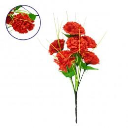 GloboStar® 09073 Τεχνητό Φυτό Διακοσμητικό Μπουκέτο Κόκκινο M20cm x Υ35cm Π20cm με 7 X Γαρύφαλλα