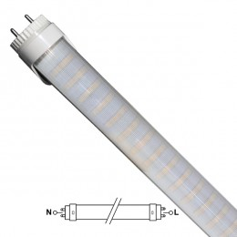GloboStar® 76183 Λάμπα LED Τύπου Φθορίου T8 Αλουμινίου Τροφοδοσίας Δύο Άκρων 90cm 15W 230V 1300lm 180° με Καθαρό Κάλυμμα Θερμό Λευκό 3000k