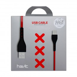 HAVIT H68 Καλώδιο Κινητού Τηλεφώνου USB-C male - USB-A male Red 1m