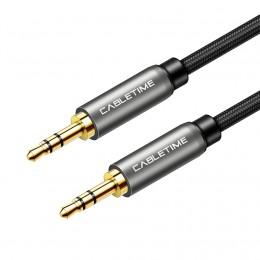 """CABLETIME καλώδιο AUX Stereo 3.5mm (1/8"""") AV311, M-M, 1m, μαύρο"""