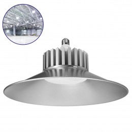 GloboStar® 76193 Βιομηχανική Καμπάνα Αλουμινίου με Ντουί E27 LED 100W 9600lm 120° AC 230V IP20 Ψυχρό Λευκό 6000K