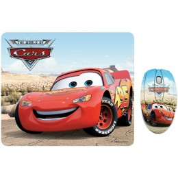 "Disney DSY TP1002 Σετ mini οπτικό ποντίκι και mousepad με μοτίβο ""CARS"", 1000 dpi"
