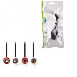 NEDIS CAGP24205BK20 Stereo Audio Cable, 2x RCA Male - 2x RCA Female, 2m, Black