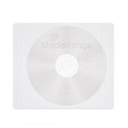 MediaRange Adhesive-backed fleece Sleeves for 1 disc White/semi-clear, Pack 50  (MRBOX69-50)