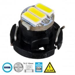 GloboStar® 81008 Λάμπα T4.2 LED 3 SMD 4014 0.6W 120lm 120° DC 12V IP20 Ψυχρό Λευκό 6000K