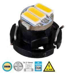 GloboStar® 81009 Λάμπα T4.2 LED 3 SMD 4014 0.6W 120lm 120° DC 12V IP20 Θερμό Λευκό 3000K