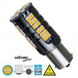GloboStar® 81251 Λάμπα Αυτοκίνητου 1156 - BA15S - P21W 3rd Generation Can-Bus Extreme Series LED 66 SMD 3030 15W 1800lm 360° DC 12V IP20 Πορτοκαλί